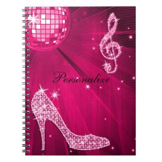 Carnet Note scintillante de musique de roses indien et
