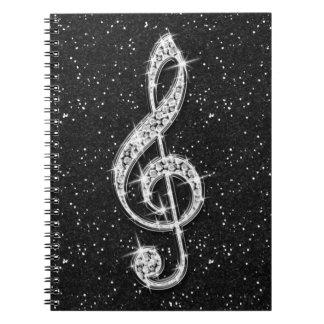 Carnet Note scintillante étincelante imprimée de musique