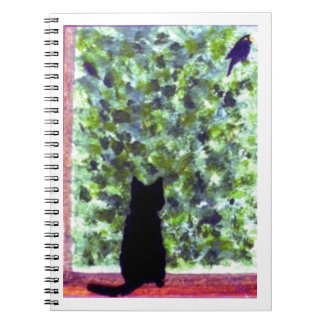 Carnet Observation d'oiseau de chat noir d'art de chat !