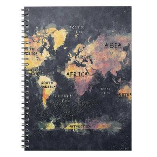 Carnet OCÉANS et continents de carte du monde