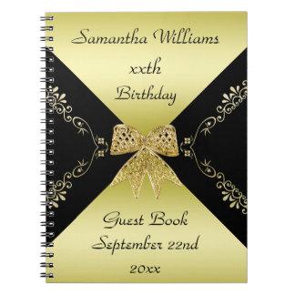 Carnet Or élégant et anniversaire décoratif noir d'arc