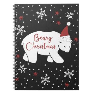 Carnet Ours blanc de casquette de Père Noël de Noël de