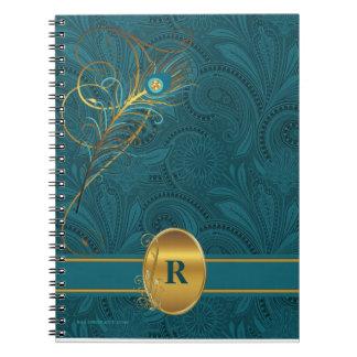 Carnet Paon turquoise décoré d'un monogramme pour
