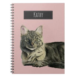 Carnet Peinture moyenne domestique d'aquarelle de chat de