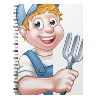 Carnet Personnage de dessin animé de jardinier ou