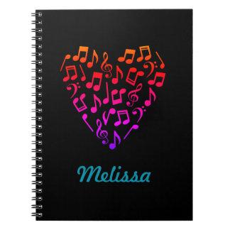 Carnet personnalisé de coeur de musique