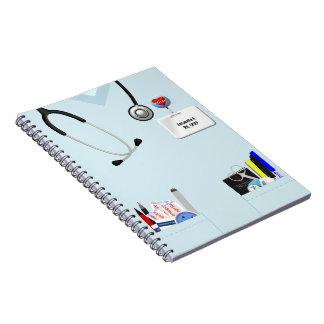 Carnet personnalisé d'infirmière bleu-clair