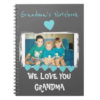 Carnet personnalisé par photo grise de turquoise