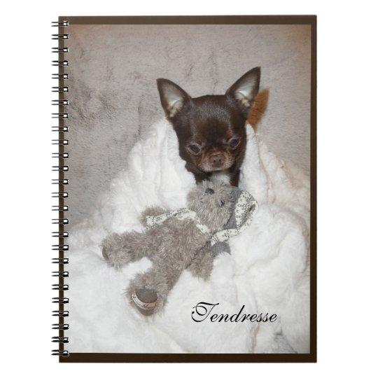 carnet photo chiot chihuahua marron peluche