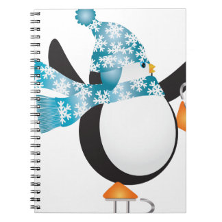 Carnet Pingouin avec l'illustration bleue de patinage de