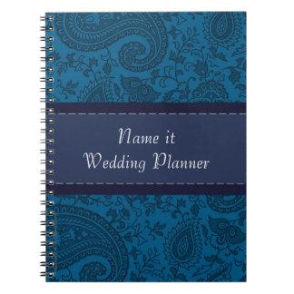 Carnet Planificateur bleu de mariage damassé d'Indien de