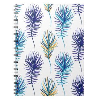Carnet Plumes de bleu et de violette de paon