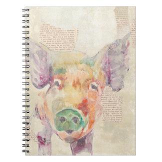 Carnet Porc de collage de ferme d'aquarelle