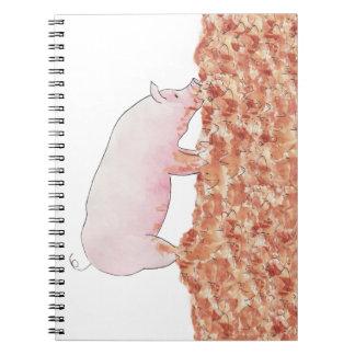 Carnet Porc mignon dans l'art animal pour aquarelle drôle