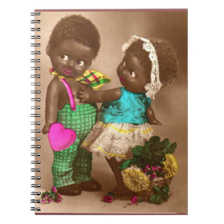 Carnet poupées noires adorables des années 1920 RPPC dans