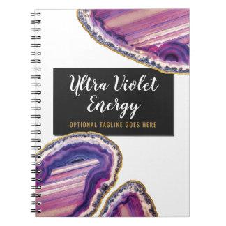 Carnet Pourpre ultra-violet de pierre gemme de tranche