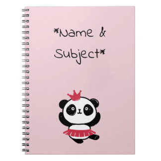 Carnet Princesse rose Panda Notebook