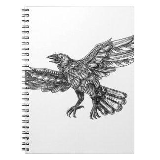 Carnet Raven volant vers le haut du tatouage géométrique