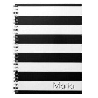 Carnet rayé noir et blanc personnalisé