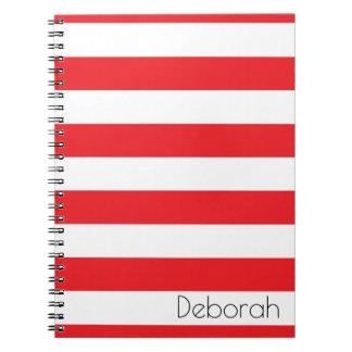 Carnet rayé rouge et blanc personnalisé