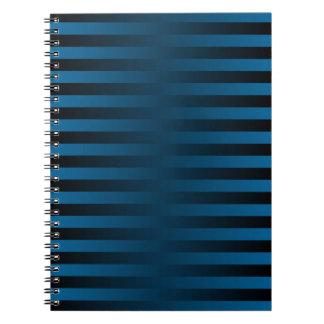Carnet rayé turquoise et noir d'armure de gradient