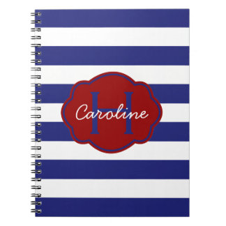 Carnet Rayure horizontale classique bleue et blanche