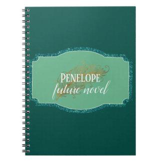 Carnet Roman de stylo de plume futur en vert impeccable