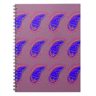 Carnet Rose bleu de paisleys de conception d'Ethno