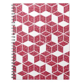 Carnet rose de motif de cube en scintillement