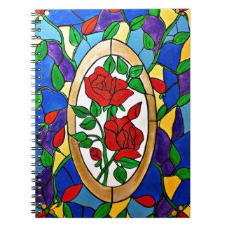 Carnet Roses rouges en verre souillé