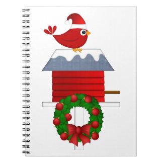 Carnet Séance cardinale rouge de Noël sur la volière