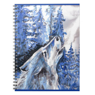Carnet Souffle bleu de froid de loups d'hiver de loup de