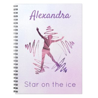 Carnet Star on ice figure skating notebook purple pink