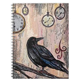 Carnet Steampunk Raven avec des horloges