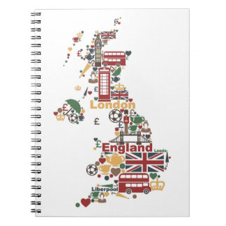 Carnet Symboles de carte de l'Angleterre