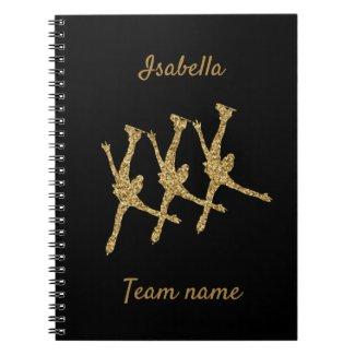 Carnet Synchronized skating notebook line gold glitter