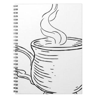Carnet Tasse style gravé à l'eau-forte vintage de thé ou