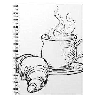 Carnet Tasse style vintage de thé et de croissant de