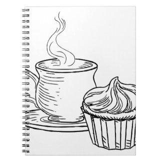 Carnet Tasse style vintage de thé et de petit gâteau de