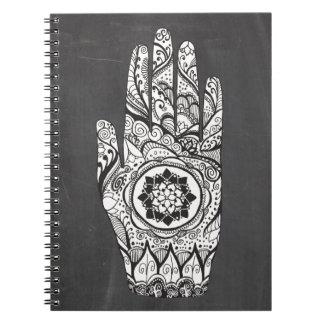 Carnet Tatouage de main de henné avec la fleur de Lotus