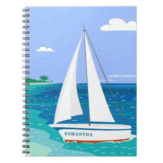 Carnet tropical côtier de voilier de monogramme