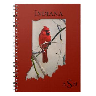 Carnet Un cardinal à l'intérieur de la forme de l'Indiana
