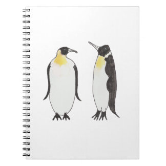Carnet Un dessin d'encre de couples de pingouin