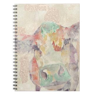 Carnet Vache à collage de ferme d'aquarelle