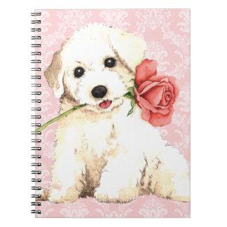 Carnet Valentine Bichon rose