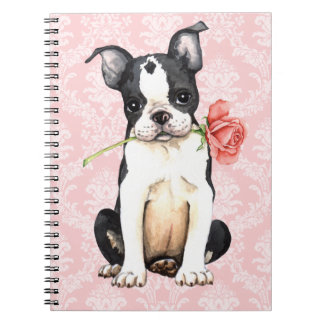 Carnet Valentine Boston rose Terrier