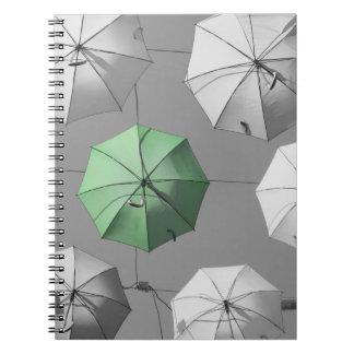 Carnet vert de parapluie