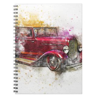 Carnet Vieux cru d'aquarelle d'abrégé sur art de voiture