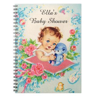 Carnet vintage de baby shower de bébé