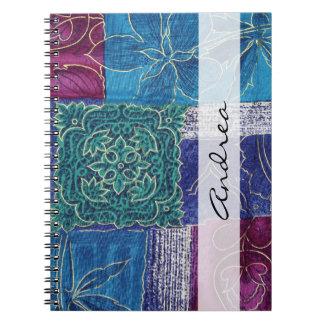 Carnet Votre nom - patchwork, fleurs, tourbillonne - rose